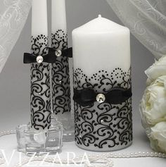 Wedding Candles black Ceremony wedding unity candles black unity candles White Ceremony Set Unity CaYou searched for hovering candles!, see a large number of hand crafted, classic, as well as one regarding a level products and items linked to your se Floating Candles Wedding, Big Candles, Candle Wedding Centerpieces, Black Candles, Candle Decorations, Unity Candle Holder, Candle Art, Glamour Decor, Candle Making