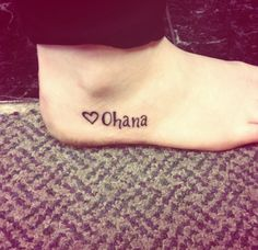 """Ohana means family and family means no one gets left behind, or forgotten"" (style of writing)"