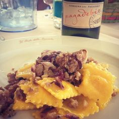 #Ravioli with sausage ragù and a glass of typical Pagadebit #wine: #Romagna mood on - Instagram by facedani