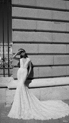 berta fall 2016 bridal beautiful mermaid wedding dress cap sleeves deep plunging v neckline chapel train