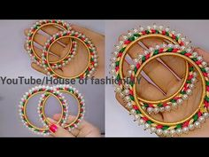 How To Make Silk Thread Bangles At Home//Pearl Bangles. Silk Thread Bangles Design, Silk Bangles, Silk Thread Earrings, Thread Jewellery, Beaded Jewelry Patterns, Necklace Designs, Wire Wrapped Jewelry, Beaded Embroidery, Handmade Jewelry