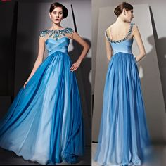 Luxury Blue Cap Sleeve Masquerade Ball Gowns Pageant Evening Dresses SKU-122094