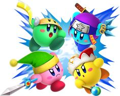 Cutter, ninja, sword and beam kirby! Omg the cuteness!!!