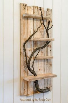 Rustic Home Decor Large Wall Art Reclaimed Pallet Shelves Wooden Home Decor 4 Shelf Tree Branch artwork - Handmade wall decor, Diy pallet furniture, Handmade wall art, Art shelves, Handmade home decor - Diy Pallet Furniture, Diy Pallet Projects, Wood Projects, Pallet Ideas, Furniture Projects, Handmade Wood Furniture, Handmade Wooden, Woodworking Furniture, Country Furniture