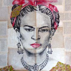 """Portrait Frida Kahlo: """"Les fragments de Frida"""", Géraldine Gabin. Stylo sur collages."""