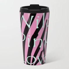 Buy this Wild Pink Love on Black Metal Travel Mug