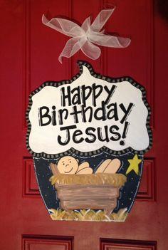 Jesus in a Manger Happy Birthday Door Hanger by JustPlainADoorAble, $55.00