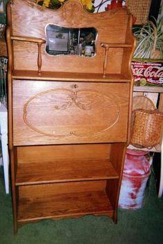 Antique Oak Larkin Secretary Bookcase Desk Drop Front