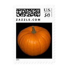 Pumpkin Photo on Black Background v2 Postage - thanksgiving day family holiday decor design idea