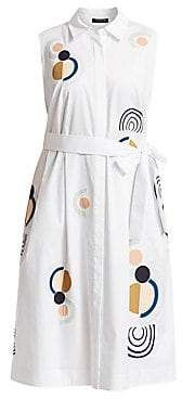 Plus Size White Print Shirt Dress | Lafayette 148 New York, Plus Size Women's Estelle Embroidered Sleeveless Shirtdress