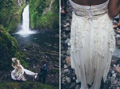 Waterfall Elopement in the Rainforest; photography: Carl Zoch // location: Wahclella Falls, Oregon on the Columbia River Gorge // florist: Lucy's Informal Flowers // wedding dress: Sarah Seven // groom's suit: Joseph A. Forest Wedding, Boho Wedding, Dream Wedding, Wedding Day, Elopement Wedding, Wedding Bride, Sarah Seven, Informal Wedding Dresses, Wedding Dresses With Flowers