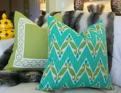Decorative Designer Pillow Cover 18X18 - Zig Zac IKAT Print in Turquoise, Aqua  and Apple green on a Natural Background. $40.00, via Etsy.