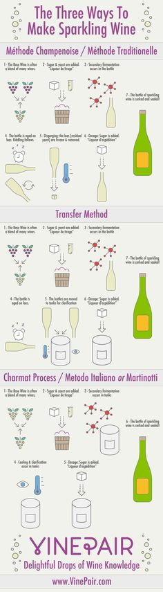 Ever wonder how sparkling wines like Champagne get their bubbles? This infographic shows you how sparkling wine is made!
