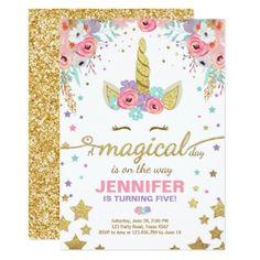 #Unicorn Birthday Invitation Pink Gold Magical - #gold #glitter #gifts