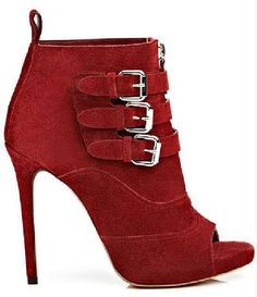 8178dfe1fd9 Tabitha Simmons - 2013 Fall-Winter  Red suede peep-toe triple buckle  stiletto ankle boot