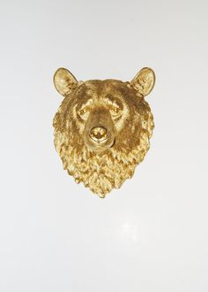 Faux Taxidermy - The Honey - Gold Resin Bear Head- Resin White Faux Taxidermy- Chic & Trendy. $109.99, via Etsy.