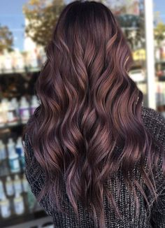 Chocolate Lilac Hair: We love this trendy hair color - Frisuren - Beauty Violet Hair, Lilac Hair, Cinnamon Hair, Hair Color And Cut, Color For Black Hair, Hair Highlights, Brown Hair With Purple Highlights, Subtle Purple Hair, Balayage Hair