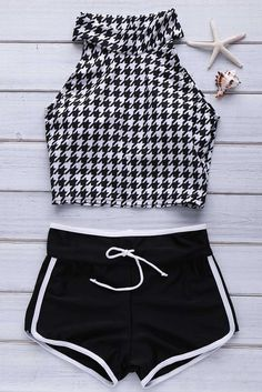 swimwear fashion sporty shorts houndstooth black and white halter top comfy gamiss black white