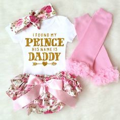 Baby Girl Clothes, Baby Girl Outfit, Daddy Onesie, I Found my Prince Daddy, baby girl onesie Baby Bloomers Take Home Outfit Baby Leg Warmers by KennedyClairesCloset
