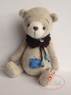 Alex OOAK Artist Crochet Teddy Bear by LaLalaArte on Etsy