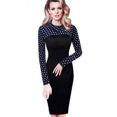 b5d50b5c21 Vintage Long Sleeve Women Dress Patchwork Office Plaid Pattern Plus Size Bodycon  Dresses Pencil Elegant Ladies Clothing