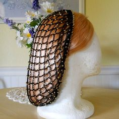 Beaded Snood Hair Net Black with Gold Beads by aprilsbag on Etsy, $20.00