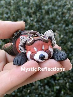 Steampunk Ted Panda Animal Pal Handmade Ooak Polymerclay Sculpture by Mytic Reflections Red Panda, Polymer Clay Creations, Fantasy Artwork, Jojo Bizarre, Jojo's Bizarre Adventure, Ted, Steampunk, Etsy Seller, Sculpture