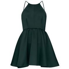 After Dark High Neck Apron Dress ($68) ❤ liked on Polyvore featuring dresses, vestidos, short dresses, green, green mini dress, low back cocktail dress, mini dress and low cut back dress