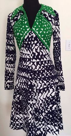 VINTAGE 70s Collector's Item by Anne Fogarty Long Sleeve Black Green Dress Sz 10 #CollectorsItems