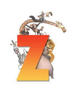 Madagascar animals letter Z letter Childrens Alphabet, Cute Alphabet, Alphabet And Numbers, Madagascar Party, Movie Theater Rooms, Animal Letters, Dreamworks Movies, Craft Party, Clip Art