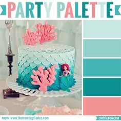 """This gorgeous ombre petal cake is the inspiration for a turquoise and coral color palette – a beautiful combination for a mermaid party! Photo:The MomTog Diaries – see the rest of the mermaid party here. Check out more """"Party Palettes"""" (color palettes to inspire your ..."""