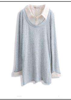 Long Sleeve Faux Two Piece Pocket Details Grey Cotton Blouse