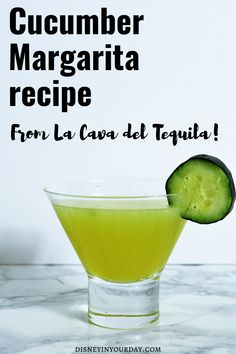 Looking to recreate the cucumber margarita from La Cava del Tequila in Epcot's Mexico pavilion? Here's a recipe to make your own version at home! Cucumber margarita recipe - Disney in your Day #disneydrinks #margarita #disneyrecipe #margaritarecipe #cucumbermargarita #epcot #lacavadeltequila Disney On A Budget, Disney Diy, Disney Food, Disney Parks, Disney Recipes, Walt Disney, Cucumber Margarita, Margarita Recipes, Drink Recipes