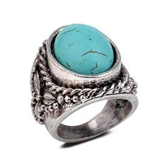 #sale Yazilind Vintage Antique Oval Cut Blue Turquoise Retro Silver Plated Embossed 9 Ring Women