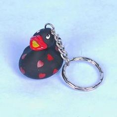 Badeente schwarz mit Herzchen - Schlüsselanhänger
