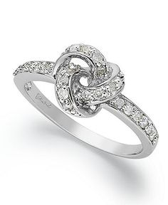 "I WANT this!!!! <3 <3   Diamond Ring, Sterling Silver Diamond ""Love Knot"" Ring  SALE & CLEARANCE -  Macys"