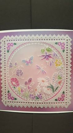 Louise Goldin design - made up from the 123 plates ABC. Vellum Crafts, Parchment Design, Parchment Cards, Flower Plates, Paper Cards, Artisanal, Hobbies And Crafts, Machine Embroidery Designs, Card Making