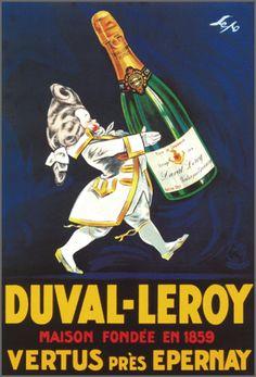 Duval-Leroy Champagne Vertus près Epernay. Alcohol Vintage poster / vieille affiche publicitaire d'alcool. Drink ads.