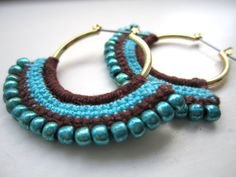 Crocheted Hoops with beads winter morning ♥ by BohemianHooksJewelry