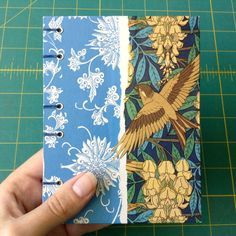 handmade journal with art nouveau sparrow wallpaper covers by Ruth Bleakley