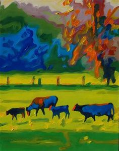 "Daily Paintworks - ""Cows and Calves at Sunset painting T Bertram Poole"" - Original Fine Art for Sale - © Bertram Poole"