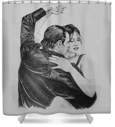 """Tango"" shower curtains for sale! Your choice of background colors!"