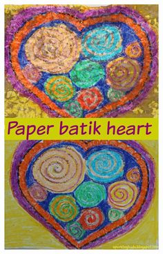 Paper batik heart! Needs only paper, crayons and black watercolor paint..