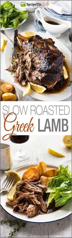 Slow Roasted GREEK Leg of Lamb - Tender fall apart lamb made the Greek way! Super easy. #greekfoodrecipes