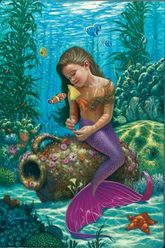Fantasy Diamond Painting Kits that include Fairies and Dragons and all things fantasy. Fantasy Creatures, Mythical Creatures, Sea Creatures, Fantasy Mermaids, Mermaids And Mermen, Mermaid Pictures, Gif Animé, Animated Gif, Merfolk