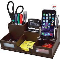 Victor Technology Wood Desk Organizer with Smart Phone Holder, Mocha Brown (B9525) | Staples