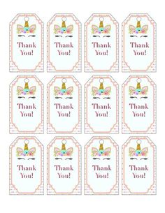 Unicorn Baby Shower Theme For A Girl- Thank You Tags - Baby Shower DecorsPrintable Unicorn Party Favor Tags For A Unicorn Birthday - VCDiyStyle your event with these cute printable unicorn baby shower decorations. This printable unicorn party sign is also Unicorn Themed Birthday Party, Unicorn Birthday Invitations, Birthday Party Games, Girl Birthday, Unicorn Party Favor, Birthday Ideas, Unicorn Baby Shower Decorations, Baby Shower Themes, Birthday Decorations