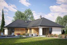 Projekt domu Dla Melomana 2 144,75 m2 - koszt budowy 228 tys. zł - EXTRADOM Design Case, Gazebo, Outdoor Structures, House Design, Cabin, House Styles, Outdoor Decor, Plot Ideas, Contemporary Houses