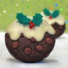 Triple Chocolate Christmas Pudding Cookies,