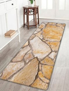 Stone Brick Texture Flannel Skidproof Bath Rug - MARBLE W16 INCH * L47 INCH